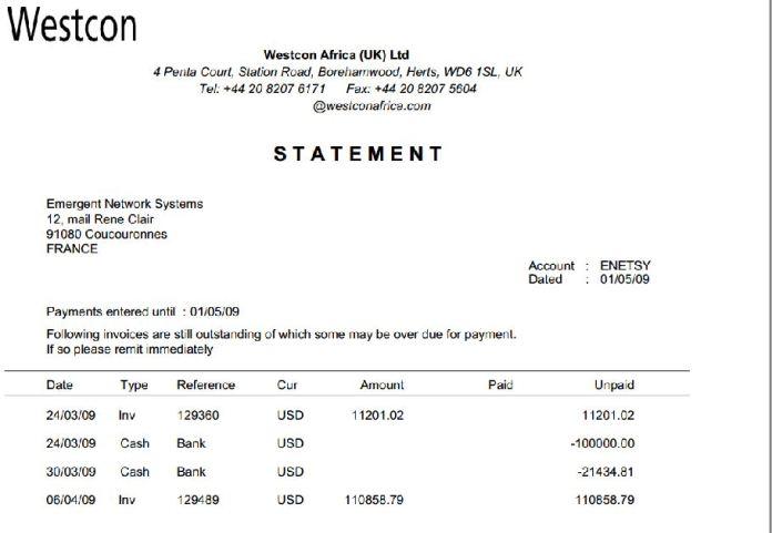 RANARISON Tsilavo statement westcon du 1er mai 2009 - En février 2009, RANARISON Tsilavo établit le premier bon de commande des produits CISCO  achetés à la société WESTCON Africa COMSTOR par EMERGENT NETWORK