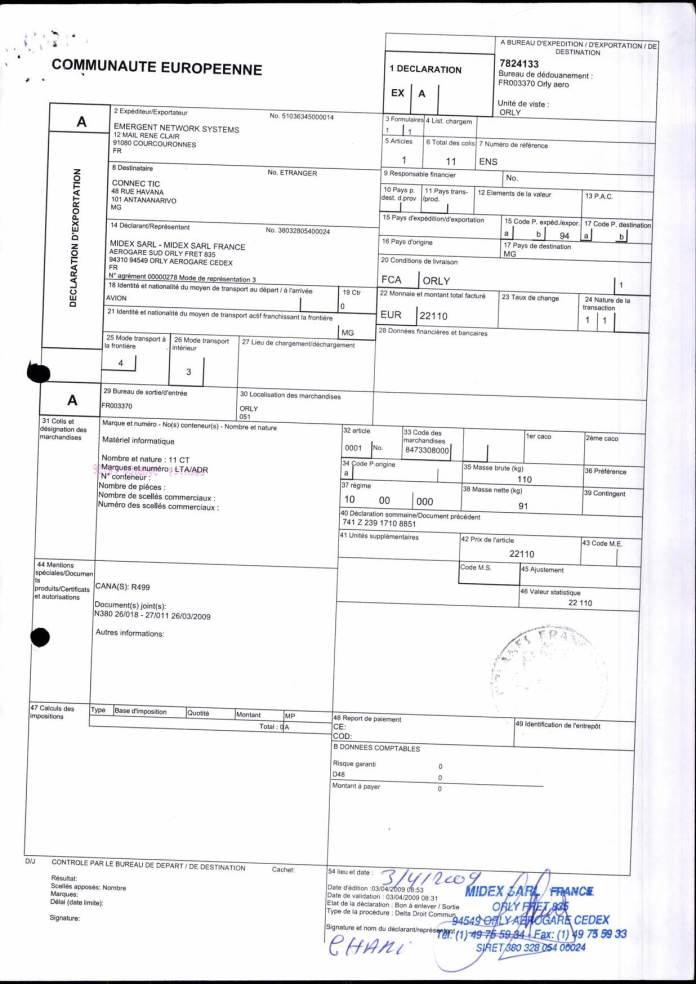 24082017 dossier douanes françaises EX1 2009 Page 02 - Ce n'est qu'en septembre 2012, que RANARISON Tsilavo reçoit la confirmation que la société française EMERGENT NETWORK appartient exclusivement à Solo