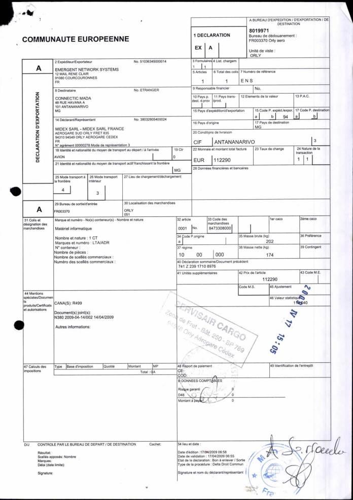 24082017 dossier douanes françaises EX1 2009 Page 03 - Ce n'est qu'en septembre 2012, que RANARISON Tsilavo reçoit la confirmation que la société française EMERGENT NETWORK appartient exclusivement à Solo