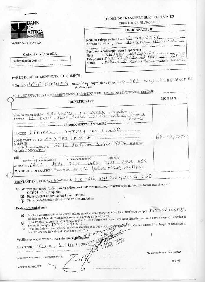 les trois premiers virements003 - RANARISON Tsilavo signent les bons de commande des produits CISCO achetés par EMERGENT NETWORK à WESTCON pour CONNECTIC