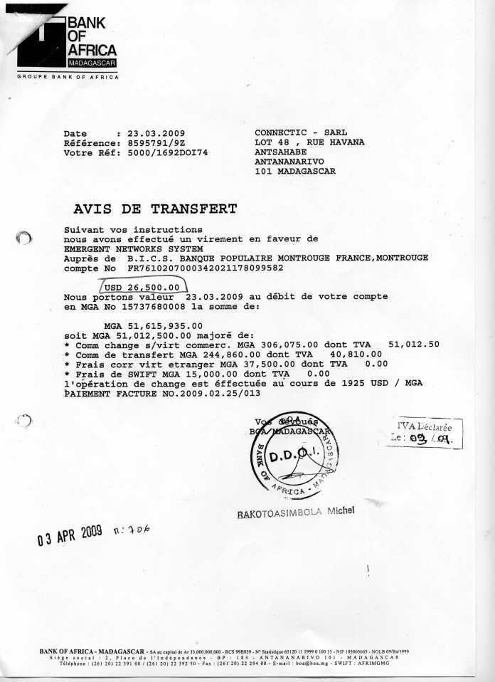 les trois premiers virements006 - Ce n'est qu'en septembre 2012, que RANARISON Tsilavo reçoit la confirmation que la société française EMERGENT NETWORK appartient exclusivement à Solo