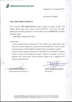 RANARISON Tsilavo NEXTHOPE est lunique signataire des BNI de CONNECTIC 1 - D'après l'article 1598 du code civil malgache : Tout ce qui est dans le commerce, peut être vendu SAUF pour les magistrats malgaches acquis à la cause RANARISON Tsilavo