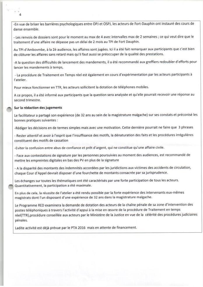 PNUD RED atelier de renforcement de capacités des acteurs de la chaîne pénale de tuléar avril 2016 Page 4 - Sans motivation est le jugement du tribunal correctionnel d'Antananarivo qui condamne Solo à 2 ans de prison avec sursis et 1.500.000.000 ariary de dommages intérêts au profit de RANARISON Tsilavo