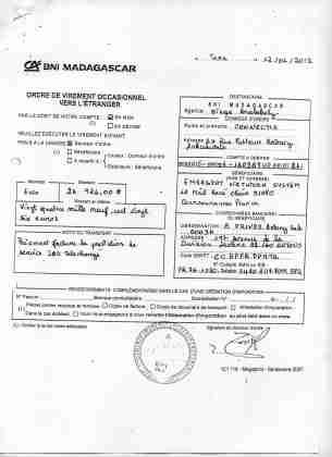 2012 virements bancaires tous signés par RANARISON Tsilavo 7 min - D'après l'article 1598 du code civil malgache : Tout ce qui est dans le commerce, peut être vendu SAUF pour les magistrats malgaches acquis à la cause RANARISON Tsilavo
