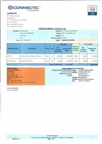 RANARISON Tsilavo ont signé les bons de commande de EMERGENT pour WESTCON Africa Page10 - RANARISON Tsilavo signent les bons de commande des produits CISCO achetés par EMERGENT NETWORK à WESTCON pour CONNECTIC