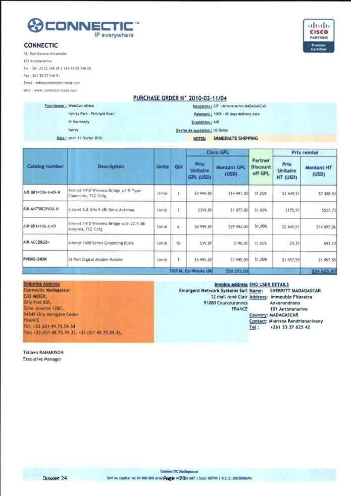 RANARISON Tsilavo ont signé les bons de commande de EMERGENT pour WESTCON Africa Page11 - RANARISON Tsilavo signent les bons de commande des produits CISCO achetés par EMERGENT NETWORK à WESTCON pour CONNECTIC