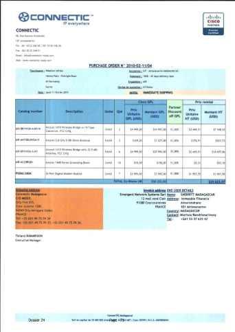 RANARISON Tsilavo ont signé les bons de commande de EMERGENT pour WESTCON Africa Page11 - Les BC des produits CISCO achetés chez WESTCON COMSTOR par EMERGENT NETWORK pour CONNECTIC sont signés par RANARISON Tsilavo