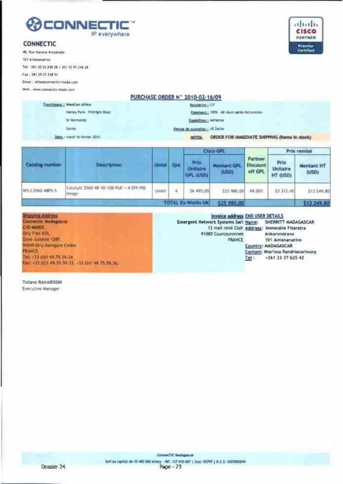 RANARISON Tsilavo ont signé les bons de commande de EMERGENT pour WESTCON Africa Page13 - RANARISON Tsilavo signent les bons de commande des produits CISCO achetés par EMERGENT NETWORK à WESTCON pour CONNECTIC