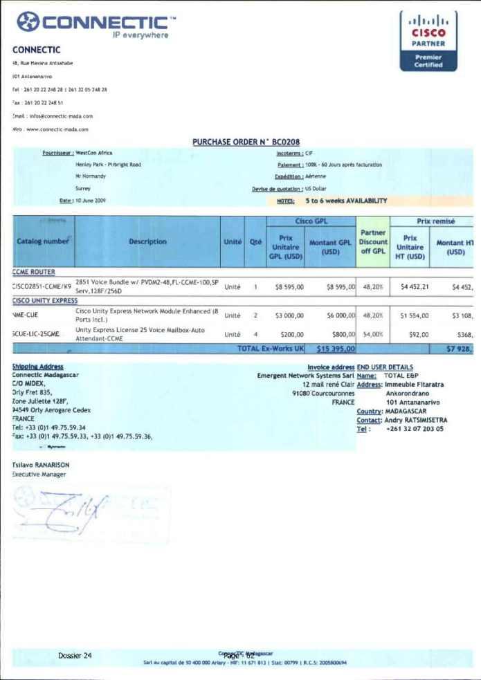 RANARISON Tsilavo ont signé les bons de commande de EMERGENT pour WESTCON Africa Page2 - Ce n'est qu'en septembre 2012, que RANARISON Tsilavo reçoit la confirmation que la société française EMERGENT NETWORK appartient exclusivement à Solo