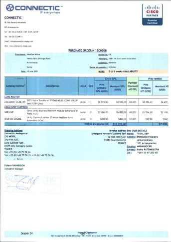 RANARISON Tsilavo ont signé les bons de commande de EMERGENT pour WESTCON Africa Page2 - En février 2009, RANARISON Tsilavo établit le premier bon de commande des produits CISCO  achetés à la société WESTCON Africa COMSTOR par EMERGENT NETWORK
