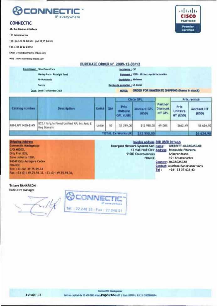 RANARISON Tsilavo ont signé les bons de commande de EMERGENT pour WESTCON Africa Page6 - Les bons de commande des produits CISCO achetés chez WESTCON COMSTOR par EMERGENT NETWORK pour CONNECTIC sont signés par RANARISON Tsilavo