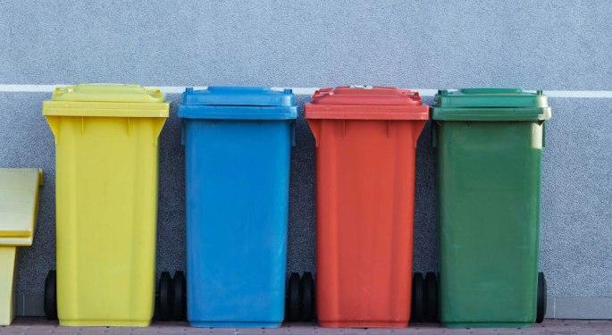 four assorted color trash bin