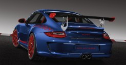 2010 Aqua Blue Metallic Guards Red Porsche 911 GT3 RS wallpaper Rear angle view