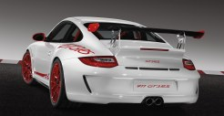 2010 Carrara white Guards Red Porsche 911 GT3 RS wallpaper Rear angle view