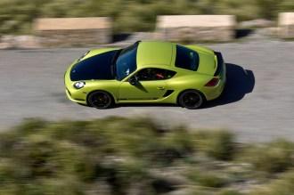 Peridot Metallic 2011 Porsche Cayman R Side top view