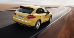 Yellow Porsche Cayenne S 2011 3000x1560 wallpaper Rear angle view