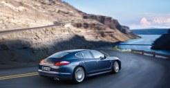 Aqua Blue Metallic Porsche Panamera 4S 2011 wallpaper Side rear angle view