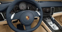 Aqua Blue Metallic Porsche Panamera 4S 2011 wallpaper Interior Steering wheel