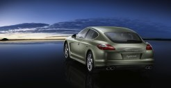 Cristal Green Metallic Porsche Panamera S Hybrid 2011 wallpaper Rear angle view