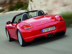 2008 Red Porsche Boxster wallpaper Rear view