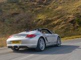 2010 Silver Porsche Boxster Spyder wallpaper Rear angle view