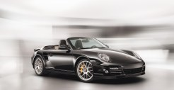 2011 Black Porsche 911 Turbo S Cabriolet Wallpaper Front angle side view