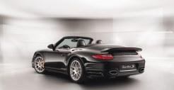 2011 Black Porsche 911 Turbo S Cabriolet Wallpaper Rear angle side view