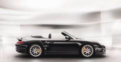 2011 Black Porsche 911 Turbo S Cabriolet Wallpaper Side view