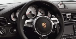 2011 Black Porsche 911 Turbo S Cabriolet Wallpaper Steering wheel