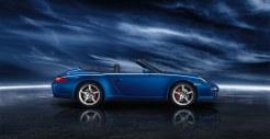 2011 Blue Porsche 911 Carrera 4S Cabriolet Wallpaper Side view