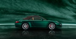 2011 Green Porsche 911 Carrera S Cabriolet Wallpaper Side view Roof on
