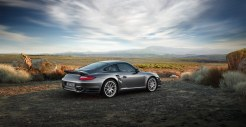 2011 Grey Porsche 911 Turbo Wallpaper Side angle view
