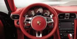 2011 Grey Porsche 911 Turbo Wallpaper Red Interior Steering wheel