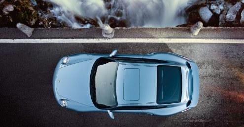 2011 Ice Blue Porsche 911 Turbo S Wallpaper Top view