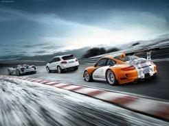 2011 Orange Porsche 911 GT3 R Hybrid Wallpaper Rear angle side view