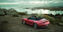 2011 Red Porsche 911 Turbo Cabriolet Wallpaper Rear angle top view
