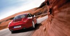 2011 Red Porsche 911 carrera 4S Wallpaper Rear angle view