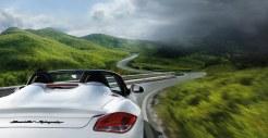 2011 Carrara White Porsche Boxster Spyder wallpaper Rear corner view