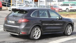 2012 Porsche Cayenne Turbo S Spy shots at Nurburgring circuit Side angle view