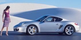 Car Girl and silver Porsche 911