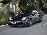 2007 Black Porsche 911 Turbo Wallpaper Front angle side view