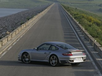 2007 Silver Porsche 911 Turbo Wallpaper Rear angle side view