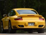 2007 Yellow Porsche 911 Turbo Wallpaper Rear angle view
