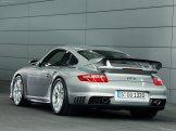 2008 Silver Porsche 911 GT2 Wallpaper Rear angle view