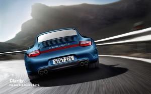 2011 Blue Porsche 911 Carrera 4 GTS Coupe Rear view