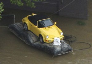 Saved yellow 964 Porsche 911 from floodwaters
