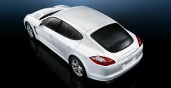 2011 White Porsche Panamera Diesel wallpaper Rear angle top view