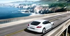 2011 White Porsche Panamera Diesel wallpaper Rear angle side view
