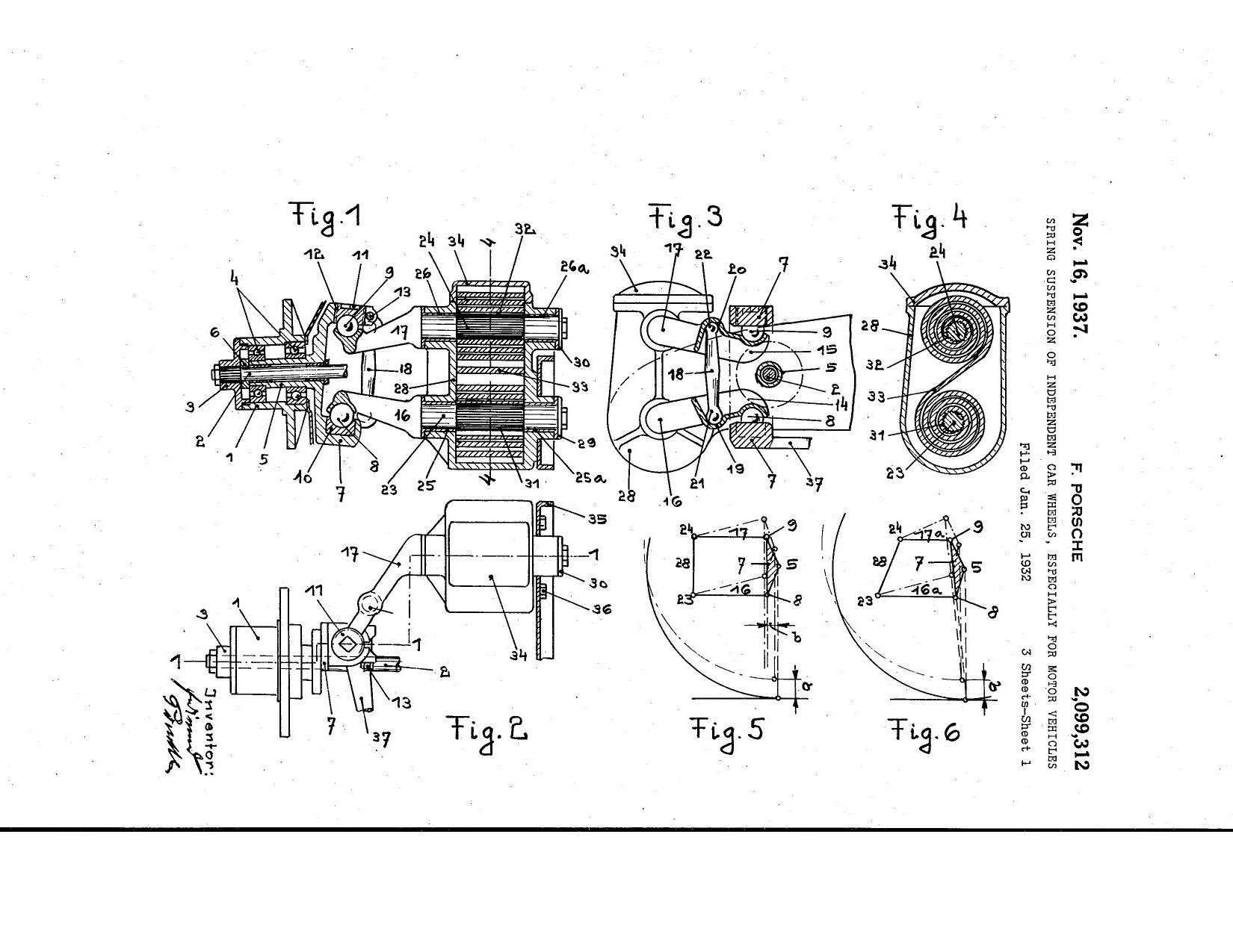 1932, Ferdinand Porsche patent: spring suspension of