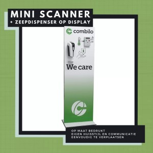 Display with mini fever scanner and hand sanitizer dispenser